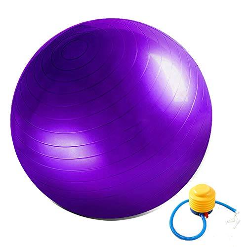 Ballon de gymnastique - Anti-éclatement - Avec pompe à ballon - Robuste - Charge maximale : 300 kg - Pour le bureau, la maison, la salle de gym - 55 cm à 75 cm - Violet
