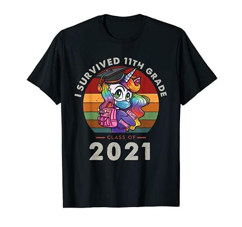 I Survived 11th Grade Class Of 2021 Graduation Retro Unicorn Camiseta