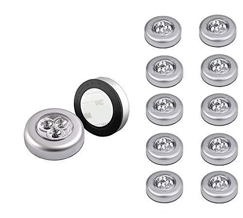 Tougo 12 Pack batteriebetriebenen Wireless Aufklebbarer Touch Armatur Lampe Push Light LED-Nachtlicht für Schränke, Dachböden, Garagen, Auto, Schuppen, Abstellraum,Weiß