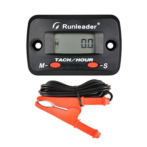 Runleader Digitaler Motorstundenzähler, Echtzeit-Drehzahlanzeige, Wartungserinnerung, anfängliche Zeiteinstellung, Batterie austauschbar für ZTR-Rasenmähergenerator Kettensägen Außenborder