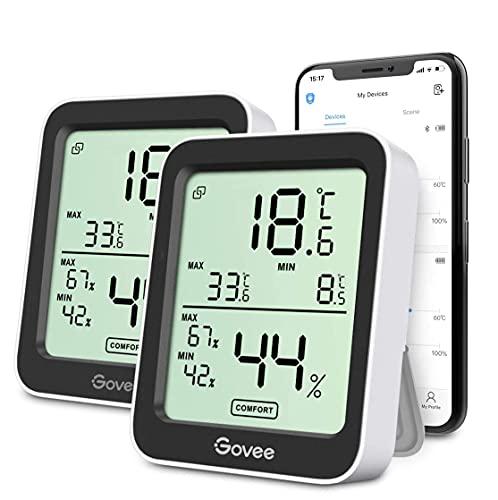 Govee Termómetro Higrómetro, Mini LCD Bluetooth Medidor Digital Humedad y Temperatura Interior con Función Almacenamiento de Datos y Alerta, para Habitación, 2PCS