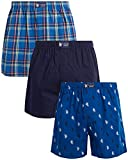 U.S. Polo Assn. Men's Underwear – Woven Boxers with Functional Fly (3 Pack), Size SMall, Red/Print/Navy