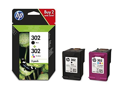 HP 302 Multipack Original Druckerpatronen (für HP Deskjet 1110, 2130, 3630, HP OfficeJet 3830, 4650, 5230, HP ENVY 4520) Schwarz + Tricolor