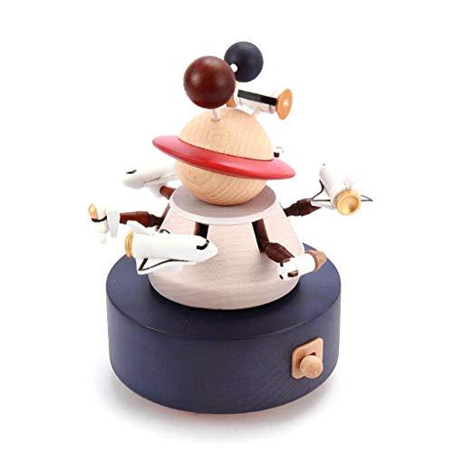 Caja de música Caja de madera Caja de Música Creativa Crafts giratoria de Vuelo Espacial musicales de viento for arriba el movimiento Cajas de música for los niños regalo de cumpleaños Caja Musical