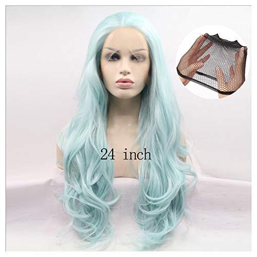 Synthetische Long Lace Front Wig Groen Haarkleur Golf van het Lichaam Lace Wigs Midden-Part hittebestendige Lijmloze Cosplay Daily Pruiken natuurlijk ogende 24 Inch,24inch