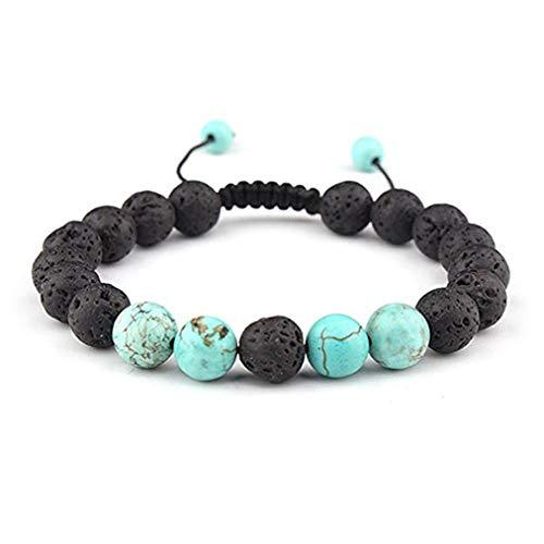 Sevenfly Männer Frauen Naturstein Lava Rock Diffusor Armband Elastische Yoga Achat Perlen Armband Armreif (Color1)