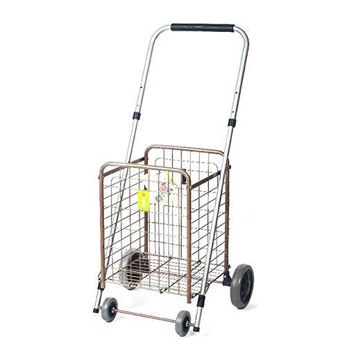SXRNN Faltbarer Einkaufsroller Aluminium Rollator PU-Rad Rostschutz für Market Laundry 2 Farben,White