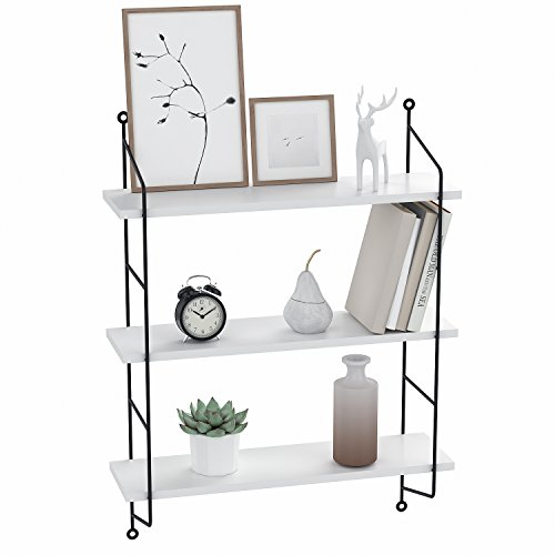 Anfan 3-Tiers Industrial Pipe Wall Mounted Ledge Shelf, Rustic Storage Shelving Bookshelf (White)