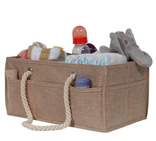 Burlap Baby Diaper Caddy Organizer - Premium Large Natural Burlap Organizer with...