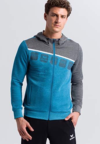 Erima Herren 5-C Trainingsjacke mit Kapuze, oriental blue m, M