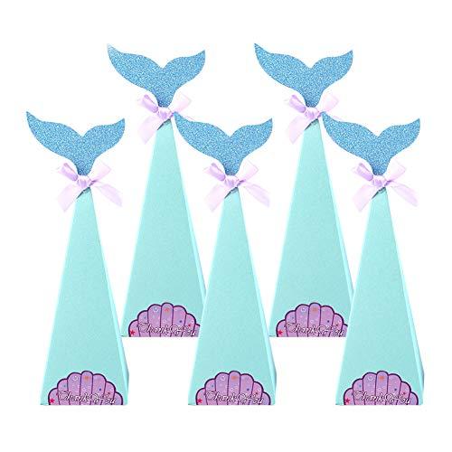 10Pcs Sirena Dulces Cajas Bolsas de Regalo, Sirena Cajitas de Golosinas de Papel Chuches Cajas para Fiesta Cumpleaños