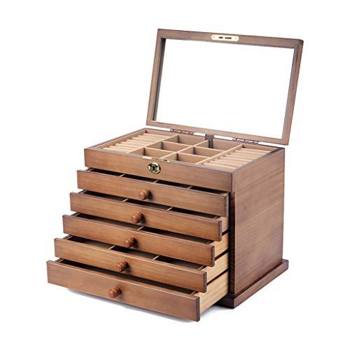 Jewelry Box Joyero para Mujer, Organizador De Joyas Grande, Almacenamiento con 6 Cajones Y Espejo, Regalo para Bodas, Cumpleaños (Color : Beige A, Size : 31.5×24.5×20.5cm)