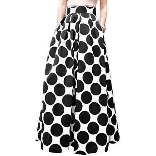 Geilisungren Röcke Damen Mode Punkt Gedruckt Lang Maxirock Abend Partyrock Frauen Freizeit Vintage Hohe Taille A-Linie Lose Strandrock Oversized Casual Skirt