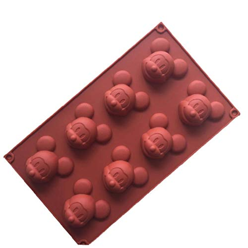 Ruluti 8 Cavidad Torta De Mickey Mouse Molde del Jabón DIY del Hielo Moldes De Silicona del Molde para De Chocolate para Hornear Molde (Color Azar)