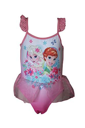 Disney Frozen ELSA Anna Mädchen-Badeanzug, Einteiler-Badeanzug Grün und Rosa (Rosa, 6-7 Jahre)