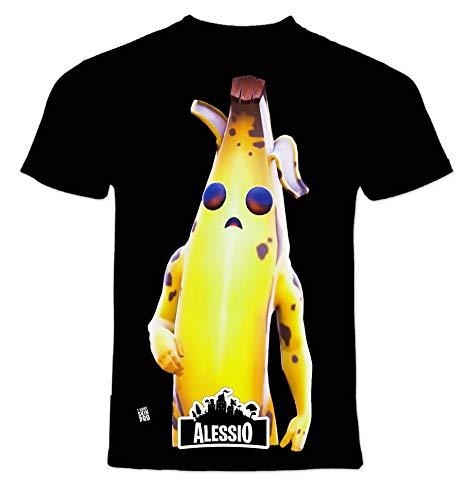 T-Shirt Personaggi Skin PRO' con Stampa Personalizzata. Scegli L'Immagine Che preferisci e personalizzala ►Gratis◄ con Il Nome Che Vuoi (9-10 Anni, Nera - Banana)