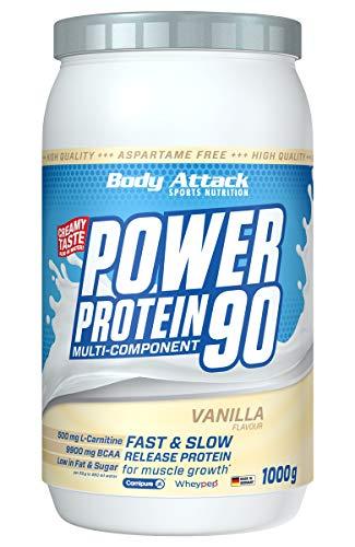 Body Attack Power Protein 90, Vanilla Cream, 1 kg, 5K Eiweißpulver mit Whey-Protein, L-Carnitin und BCAA für Muskelaufbau und Fitness