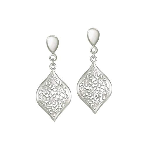 Eternal Collection Aster Sterling Silver Floral Drop Clip On Earrings Silver 3.7