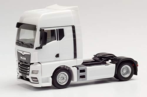 herpa 311922 – Man TGX GX Zugmaschine, LKW Transport Fahrzeug, Trucks, Weißes Miniatur Auto, Modellbau, Miniaturmodelle, Sammlerstück, Kunststoff, Maßstab 1:87