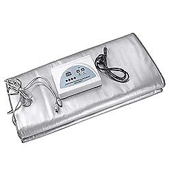 Uttiny Sauna Blanket,110V 2 Zone Digital Far-Infrared (FIR) Heat Therapy Blanket for Body Shape Slimming Fitness (Silver)