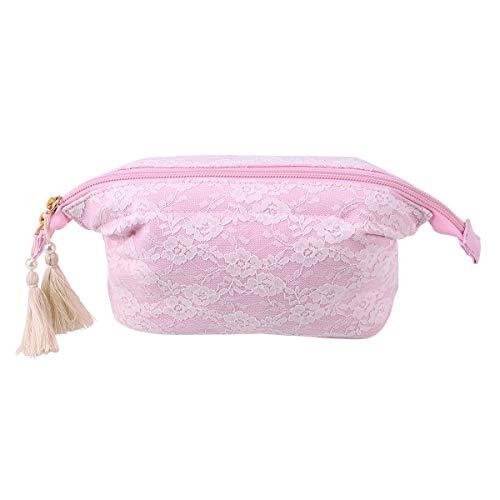 Lurrose Huile Essentielle Sac De Rangement En Dentelle Fleur Décor Portable Maquillage Pochette Zippered Travel Case (Rose)
