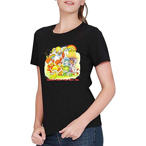 LIULOUHU Mujer Rainbow Brite 4 Camiseta T-Shirt For Women Round Neck Short Sleeve Tops
