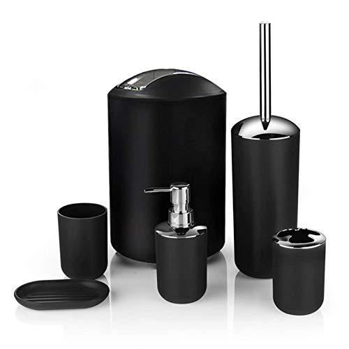 Icegrey Design Moderno 6 Pezzi Set di Accessori per Il Bagno Bottiglie per Lozione, Portaspazzolino, Boccale per Denti, Portasapone, Scopino per WC, Pattumiera,Nero