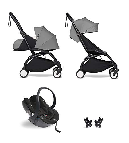 Babyzen YOYO² buggy KOMPLETTES SET 0+ und 6+ grau Gestell schwarz mit YOYO² BeSafe iZi Go Modular i-Size Autositz schwarz