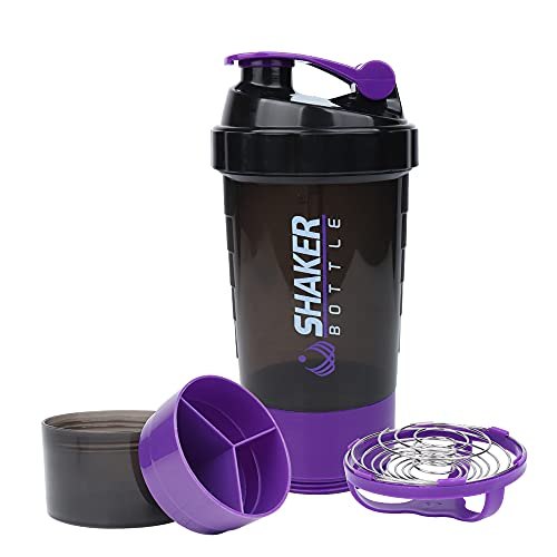 Protein Shaker Bottle with Three Part Twist Off Storage,Gym shaker cups for protein shakes 16Oz ,BPA Free, Leak Proof ,NON-SLIP, Portable sport Plastic Water Bottle Fit Most Cup Holders.
