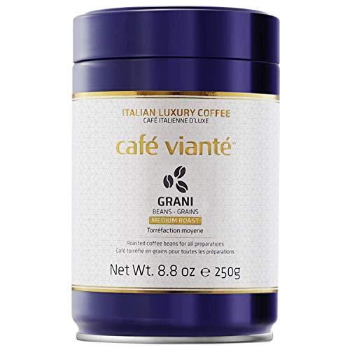 Café Vianté Italian Whole Bean Coffee | Luxury Specialty Blend | Medium Roast | Very Rich & Intense Flavor | Roasted in Italy. 8.8 Oz