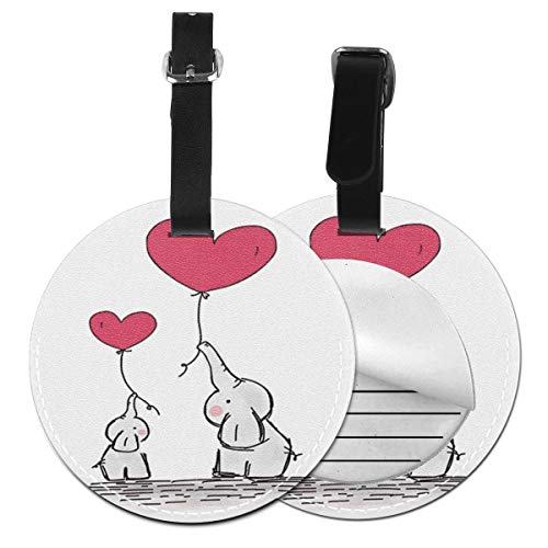 Kofferanhänger PU Leder Mutter Baby Elefant Herz Luftballons für, Gepäckanhänger ID Etikett Mit Adressschild Namenschild für Reisetasche Koffer