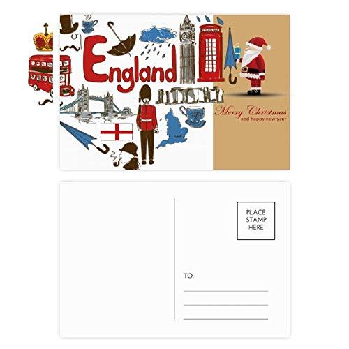Engeland liefde hart UK nationale vlag kerstman ansichtkaart set dank kaart versturen 20 stks