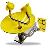 Eye wash Station with Free Eye Wash Sign - Wall Mounted Stainless Steel Eyewash Station with Dual Spray Heads – Emergency Eyewash Station – Hands Free Operation - First Aid for Eyes - Yellow