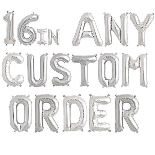 Eighty80 Globos de letras – cualquier frase personalizada de 16 pulgadas (el precio es por letra o número) Globo de aluminio – No HELIUM   Plata..