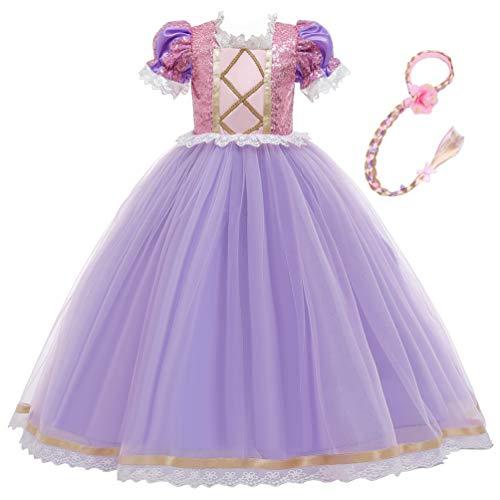 Disfraz de princesa Rapunzel de encaje corto de encaje de manga abullonada vestido de cosplay de Halloween vestido de fiesta de cumpleaños con trenza (9-10 años, morado)