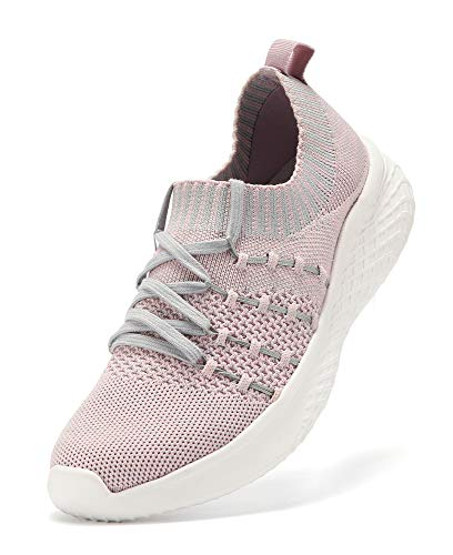 PUWAN Women's Lightweight Casual Athletic Walking Shoes Slip On Breathable Mesh,Comfortable Work Sneakers,Arch Support Design Pink/Grey