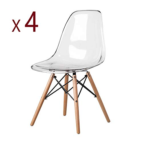 MeillAcc Lot de 4 Chaise Transparente Scandinave Chaise Salle a Manger Chaise de Cuisine en Polycarbonate Chaise Transparente Simple et Pratique (Blanc)