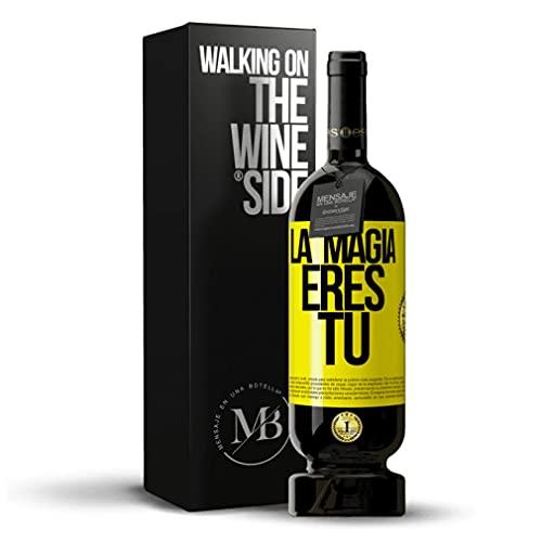 «La magia eres tú» Mensaje en una Botella. Vino Tinto Premium Reserva MBS Martín Berasategui System. Etiqueta Amarilla PERSONALIZABLE.
