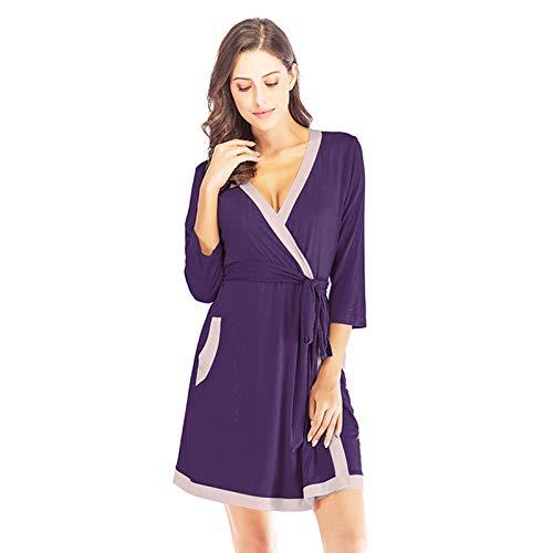 Pijamas sueltos para mujeres y uso en el hogar para primavera y verano, pijamas de manga larga con el mismo color de la correa, B, L