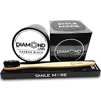 Diamond Labs Activated Charcoal Teeth Whitening Powder - Natural Coconut Teeth Whitener - Removes Stains Cleans Mouth + Bamboo Toothbrush Mint Flavor