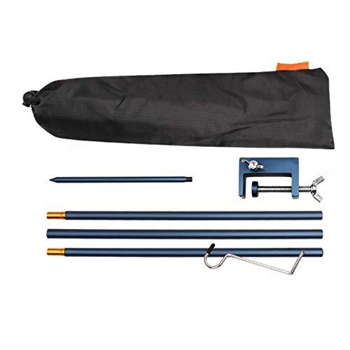 Soporte de linterna plegable para acampar alturas ajustables de aleación de aluminio ligero al aire libre linterna poste suspensión con extremo de estaca (azul oscuro)