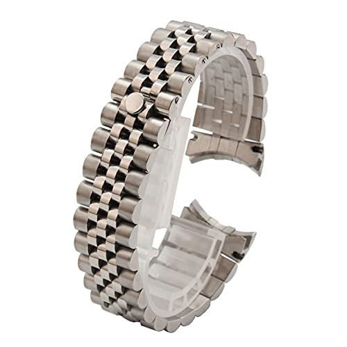 XINGFUQY 316L Silver 2 Tone Gold Curve Solid Curve Fin Jubilee Watch Band Strap Strap Pulsera Fit para Rolex Watch (Band Color : 2 Tone Gold, Band Width : 20mm)