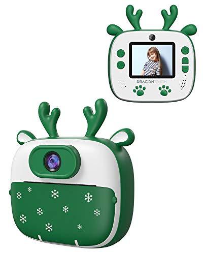 Dragon Touch Sofortbildkamera Kinderkamera 2 Zoll 1080P Digital Kinder Kamera mit 5 Druckpapier, Cartoon-Aufklebern, Kameratasche Geschenk für Kinder InstantFun Print Kamera (Grün)
