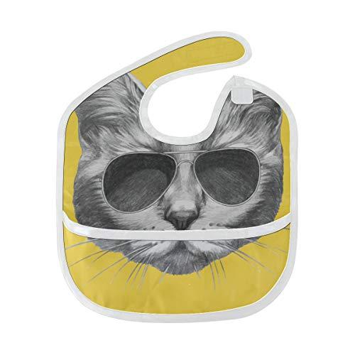 Happy Baby Bib Fashion Cute Animal Sunglasses Cat Kids Bibs Soft Stain Baby Feeding Dribble Drool Bibs Burp For Infant 6-24 mois