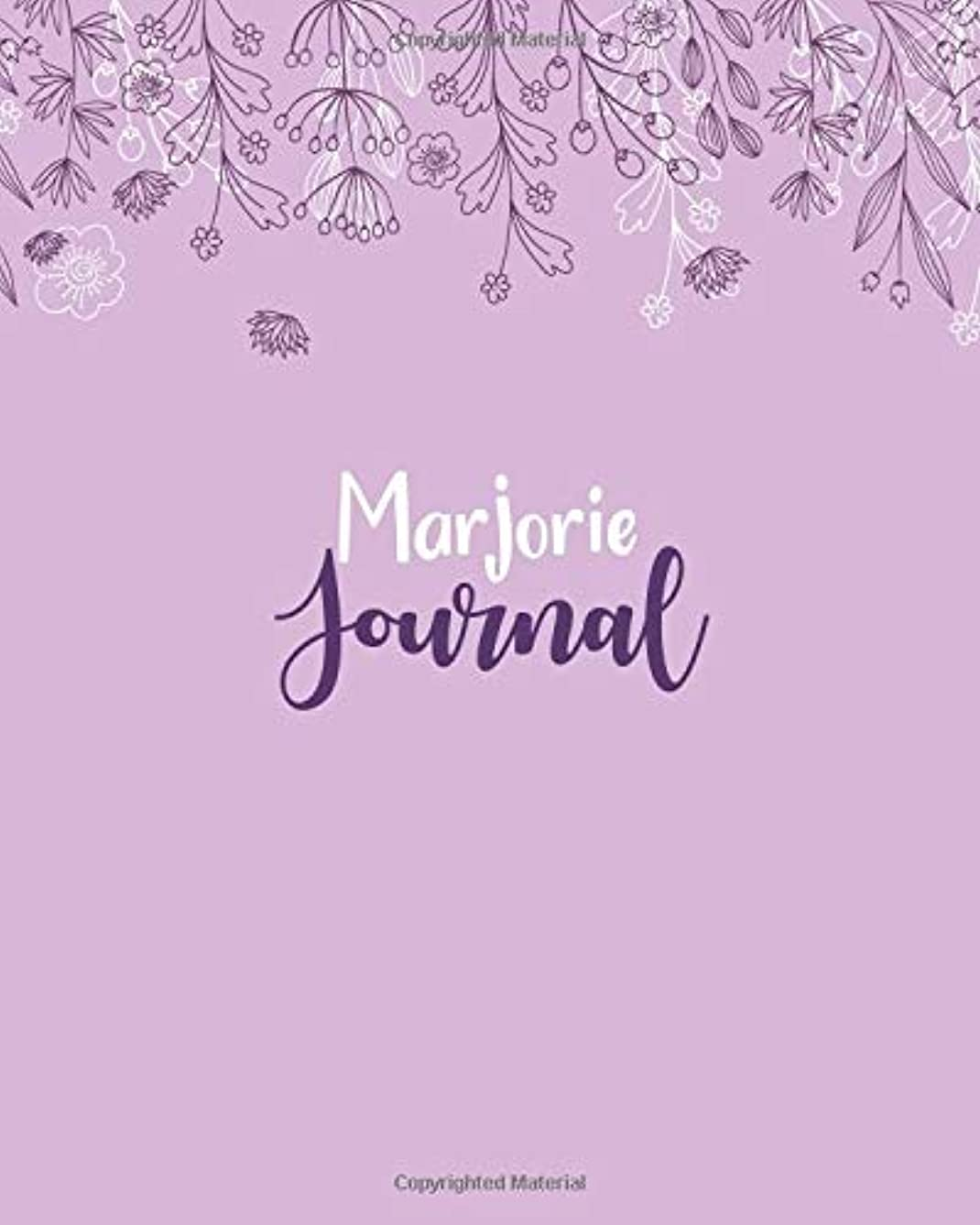 不測の事態罰する地殻Marjorie Journal: 100 Lined Sheet 8x10 inches for Write, Record, Lecture, Memo, Diary, Sketching and Initial name on Matte Flower Cover , Marjorie Journal