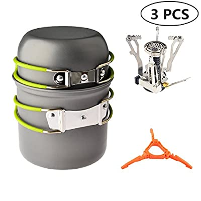 Camping Cookware Set, Petforu Cooking Utensils [Backpacking & Camping Stoves] + [Camping Pots & Pans] + [Ignition Canister Stove & Canister Stand Tripod]