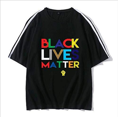 LYTLD T-Shirt Unisexe épaule Bande Noire Vie Matière Drop Col Rond Hip hop