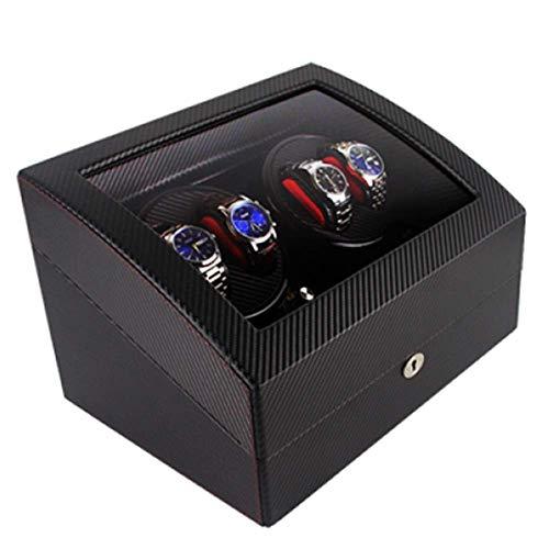 CCAN Soporte de exhibición de Relojes automáticos de Piel Watchwinder 4 + 6 Tazas giratorias Caja de bobinado de Reloj Función de Temporizador Protección