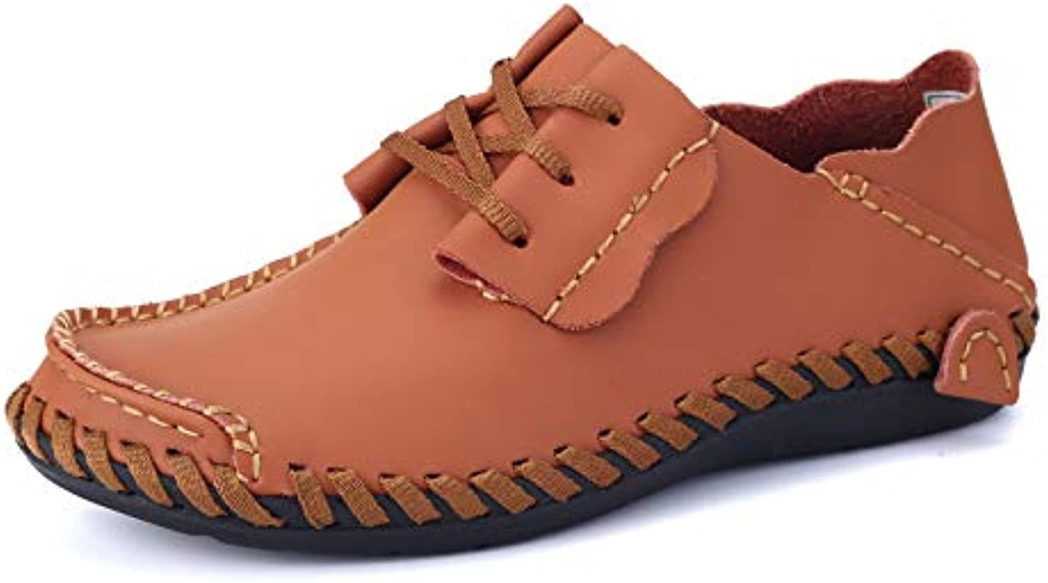Spring and Autumn Breathable Handmade Leather shoes Men Casual shoes Peas shoes Loose Men's shoes