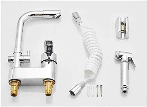 Grifo giratorio cromado con pulverizador extraíble, grifo mezclador monomando para cuarto de baño